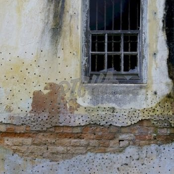 Bullet riddled wall