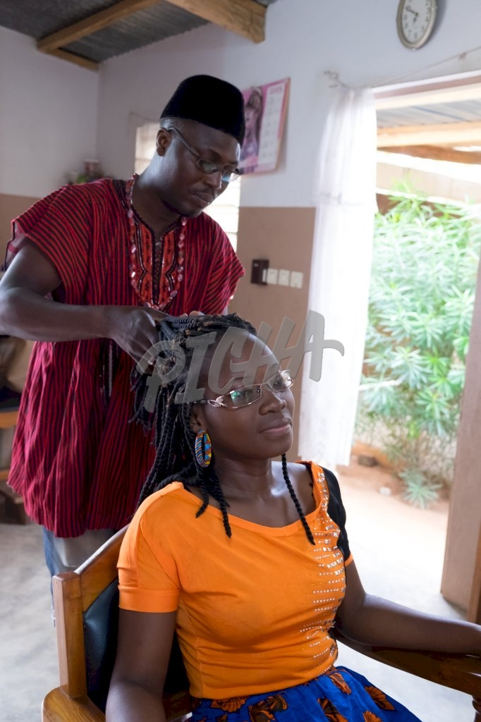 Woman having her hair done