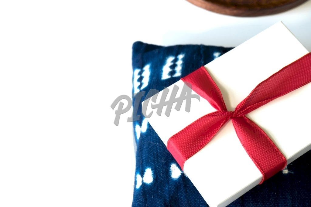Gift box on a pillow