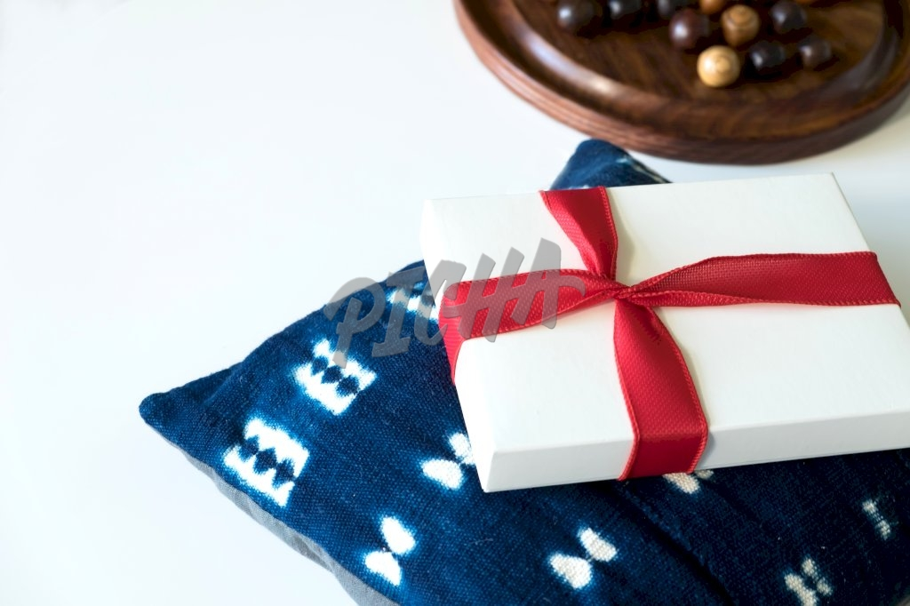 Gift box on pillow