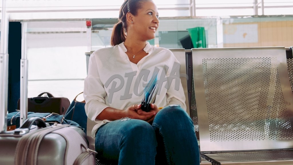 Young woman waiting for her flight