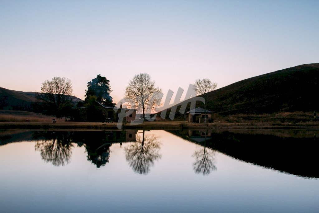 Reflection on the water in Lotheni reserve, South Africa