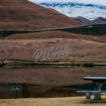 Man fishing in Lotheni reserve, South Africa