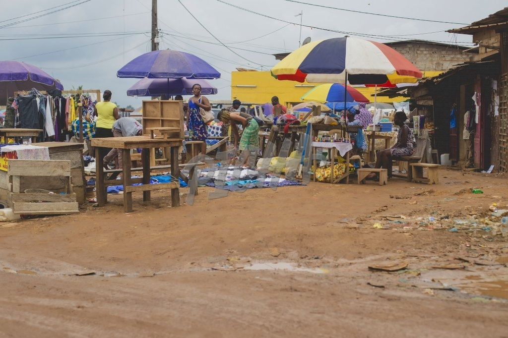 View of a market in Libreville, Gabon