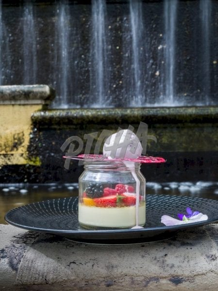 Dessert jarCream and fruits in a jar