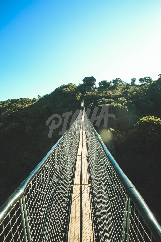 walking on a suspended bridge