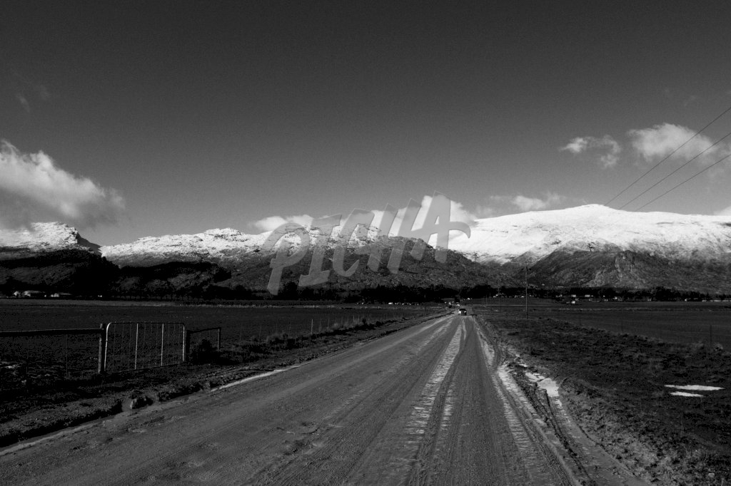 View of the snowy mountain in Matroosberg, South Africa