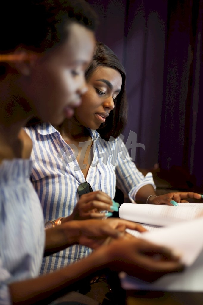 Women going over some documents