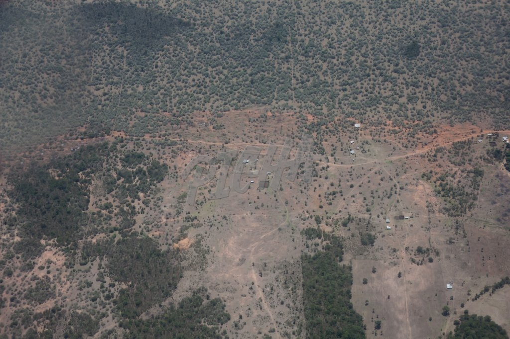 Aerial view of a small village in Kenya