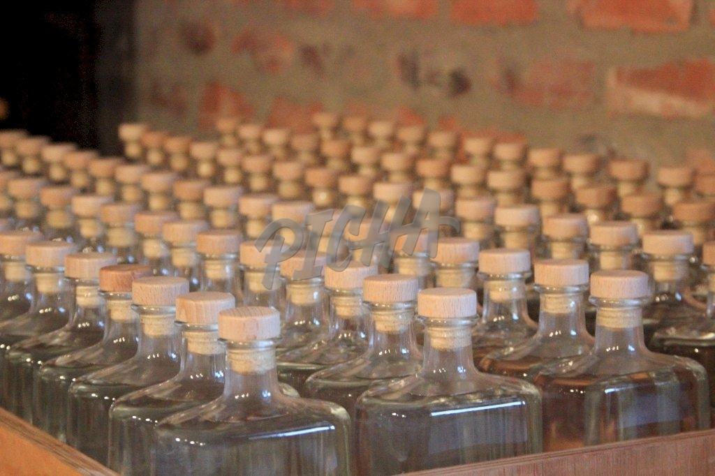 Empty Gin bottles packed in rows