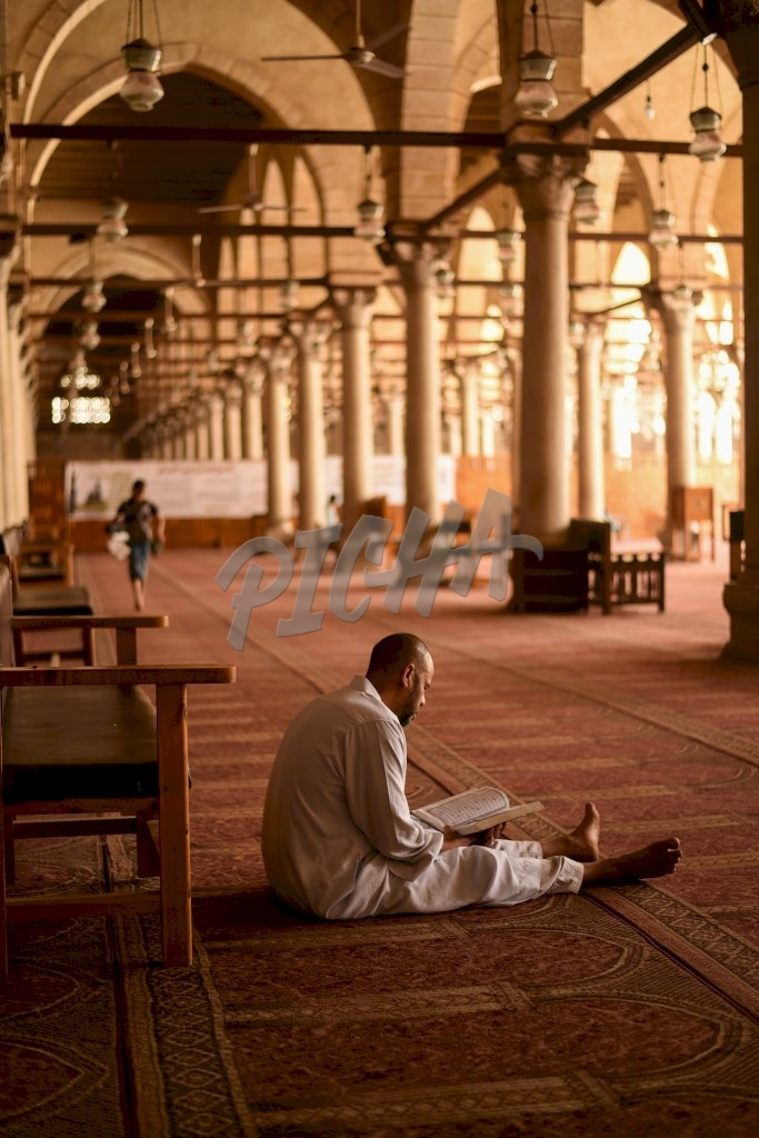 Praying at the Mosque in Cairo, Egypt