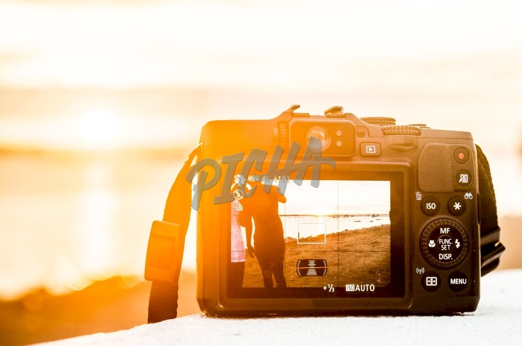 Camera review screen by sunset