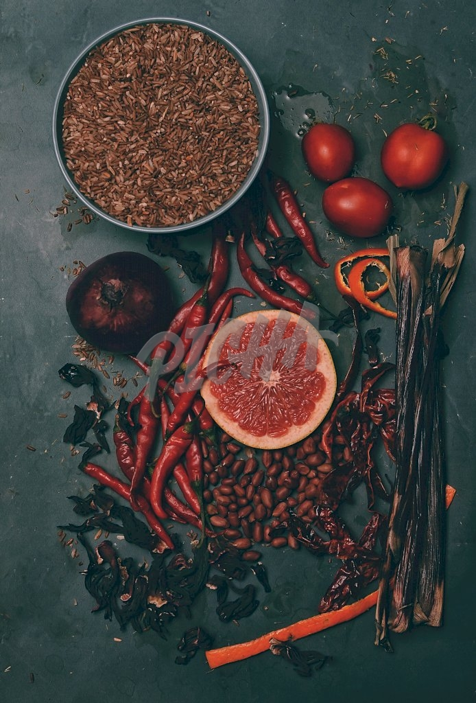 Assortment of vegetables and fruits on a black background