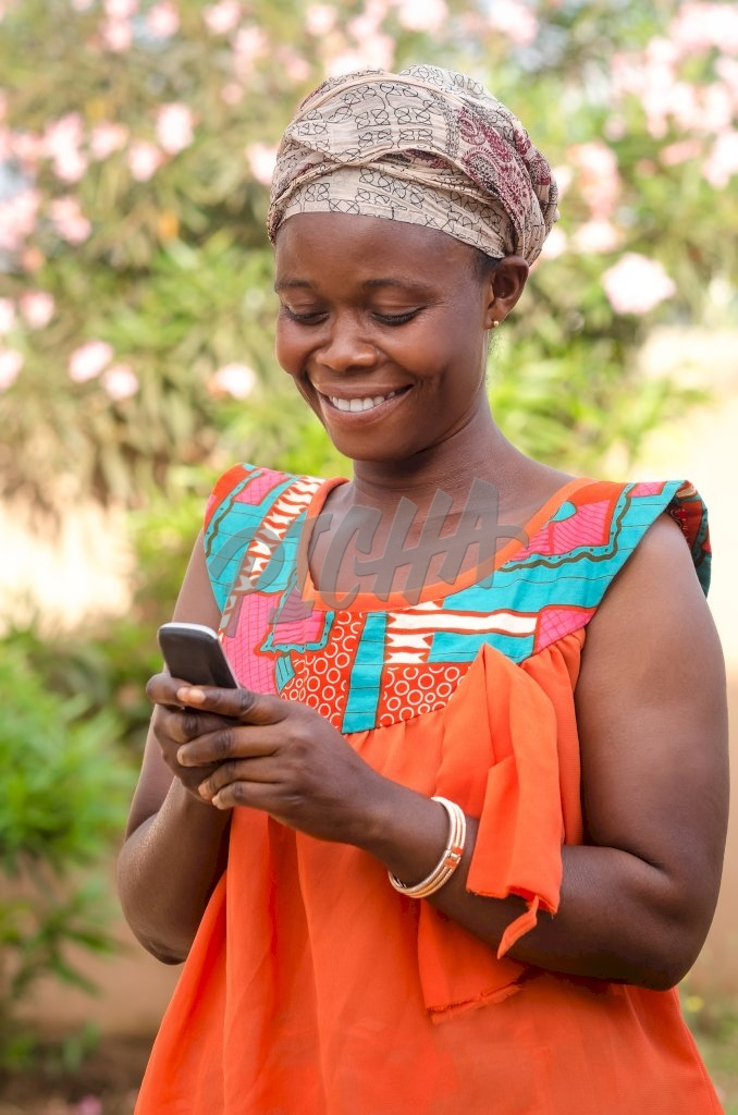 Woman receiving money on mobile