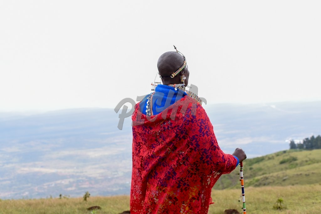 Maasai woman looking over the valley