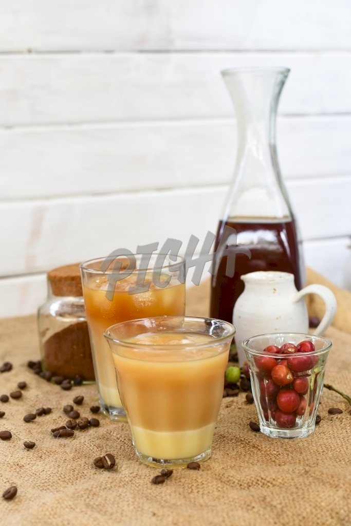 A collection of coffee drinks
