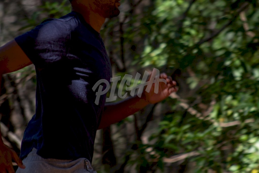 A man exercising in a forest