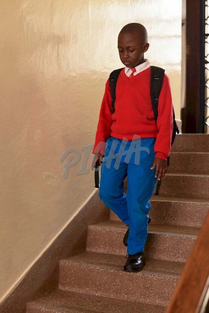 Boy on his way to school