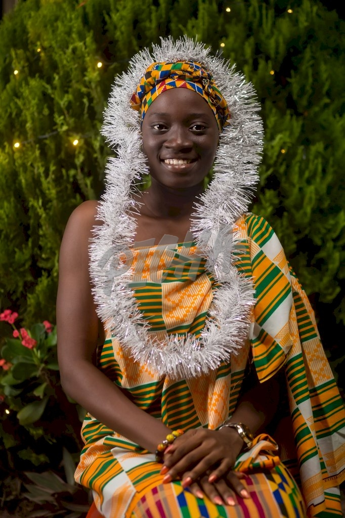 Young woman celebrating Christmas in Accra, Ghana
