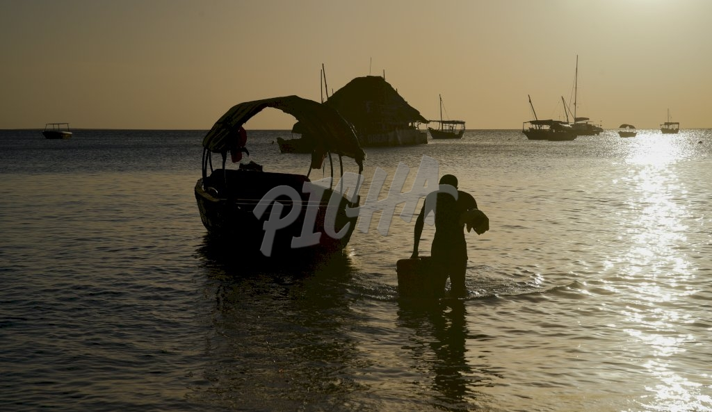 man walks back to shore carrying some items