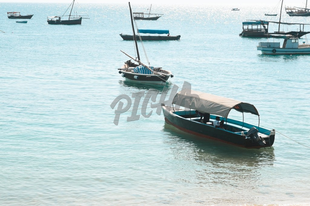 A number of fishing boats at sea