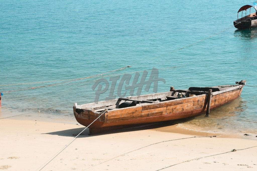 fishing boat anchored to shore