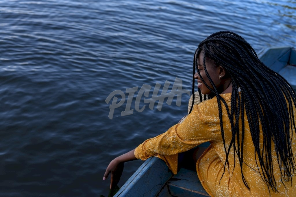 young woman having fun with water