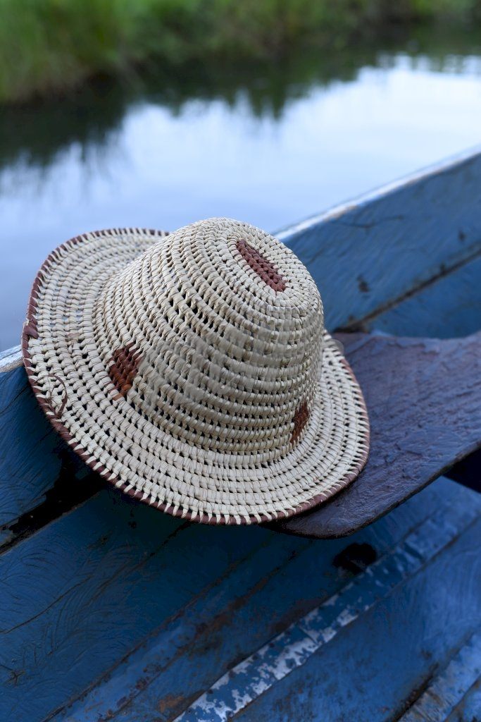 straw hat on a boat