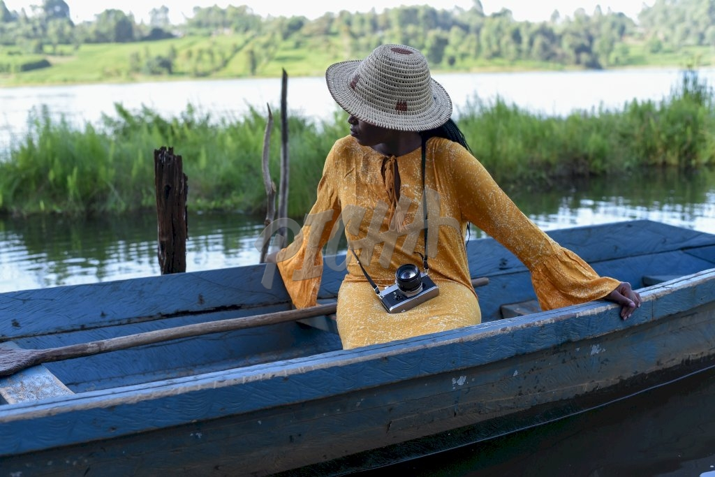 woman sitting in a boat