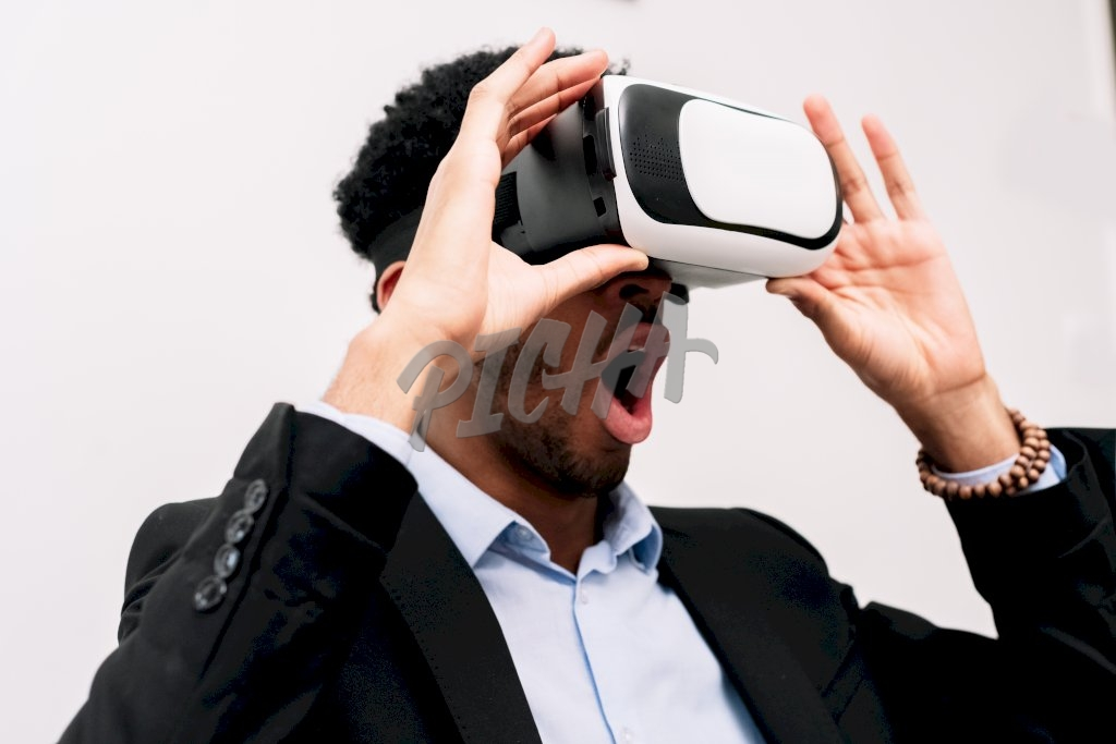 Man using a Virtual Reality device
