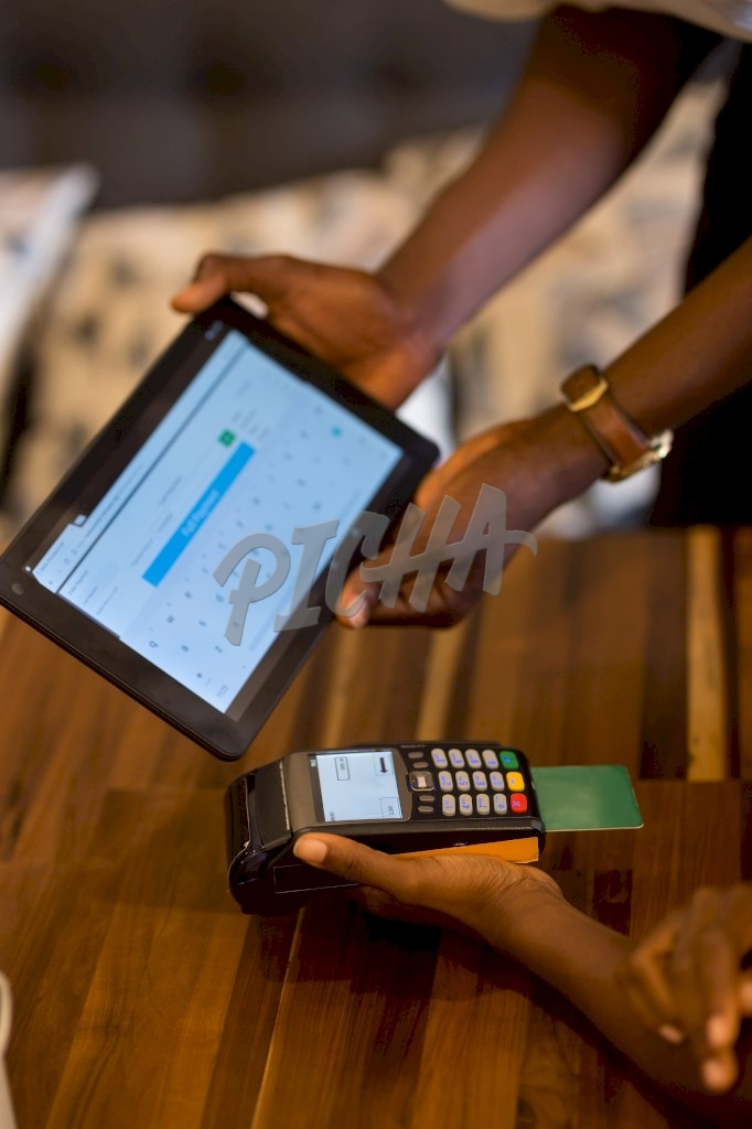 Point of sale card transaction close up