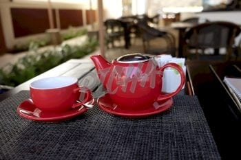 red teapot and cup