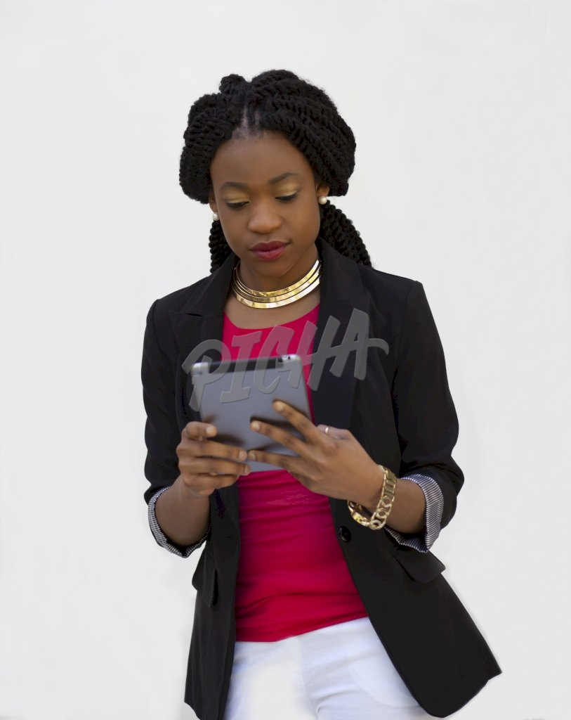 business woman holding iPad