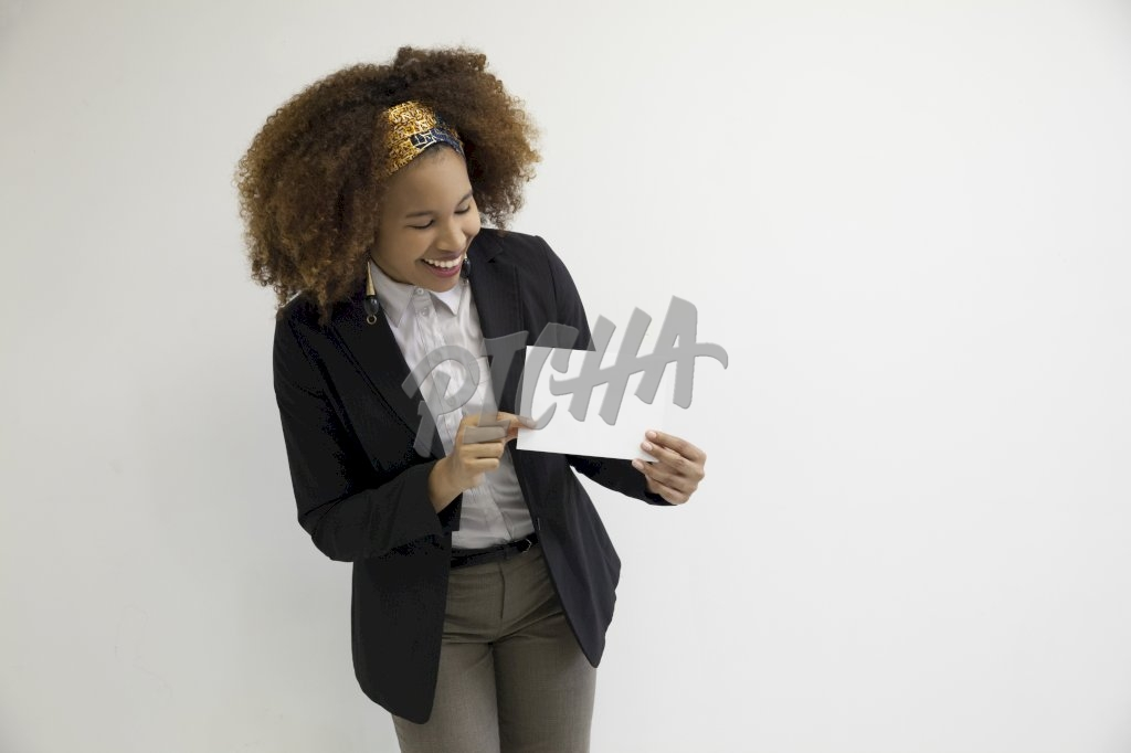 woman showing white card