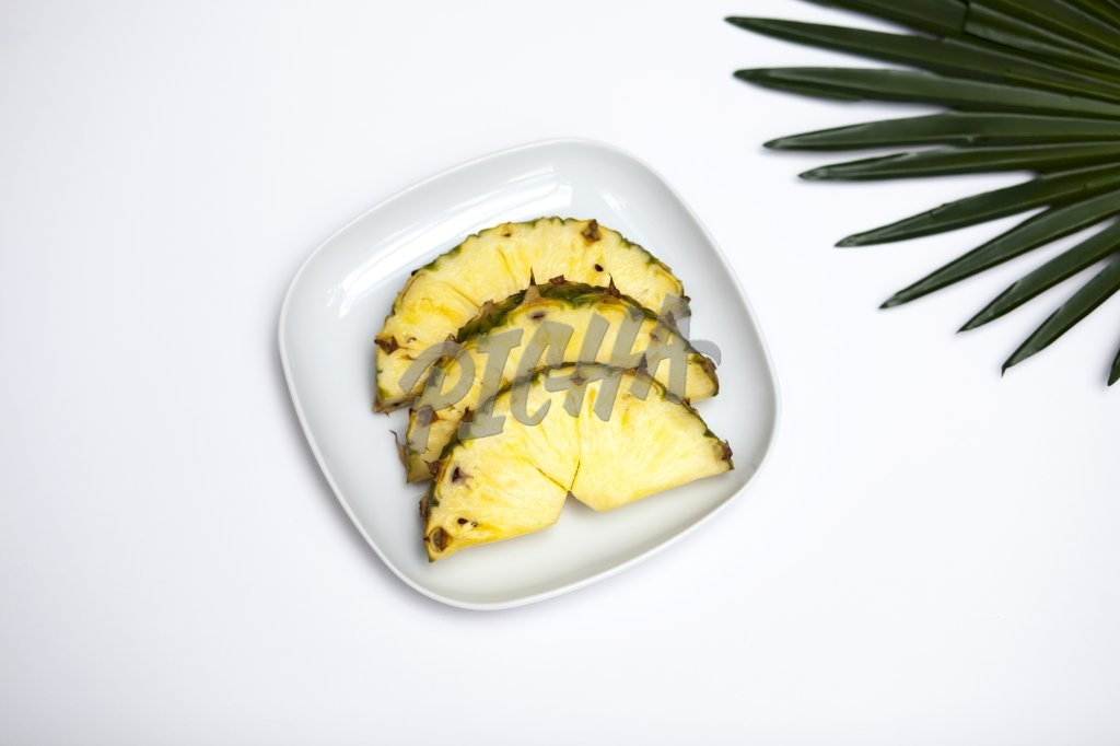 Sliced pineapple view from above