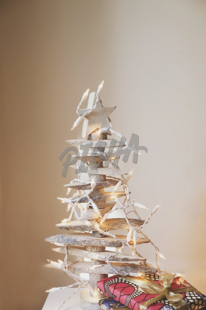 Wooden Christmas tree and gift