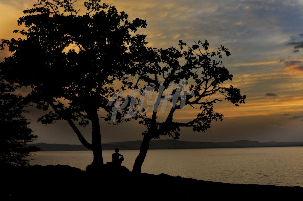 Silhouette of a man looking at the river view