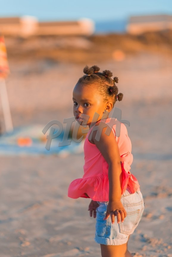 Little girl at the beach, South Africa