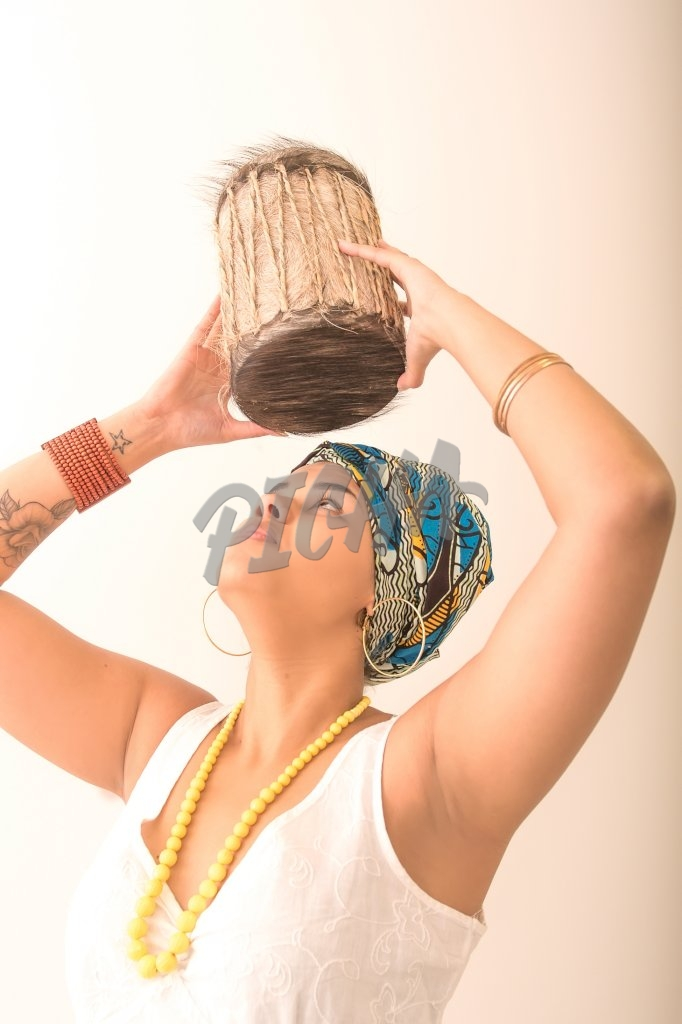 Woman holding drum