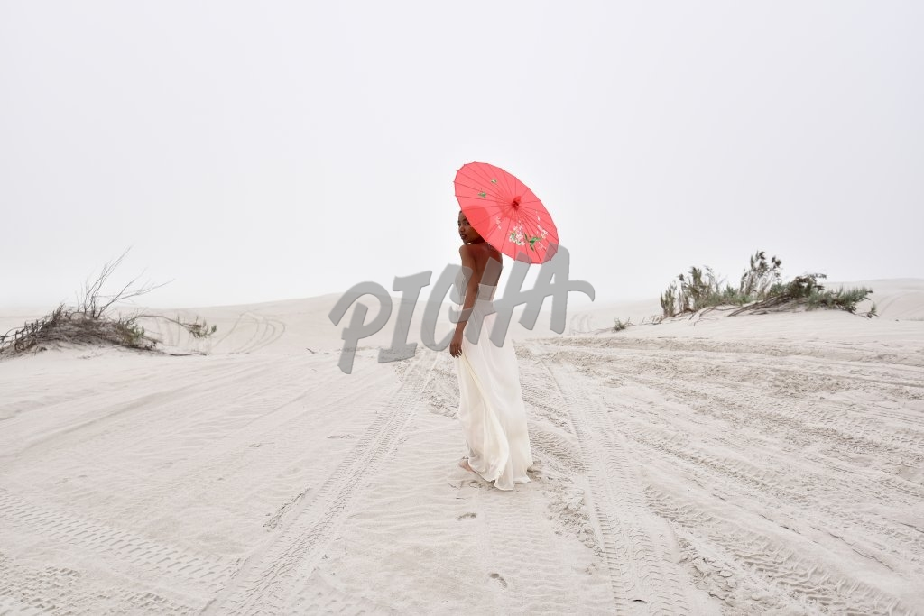 White dress on the beach, South Africa