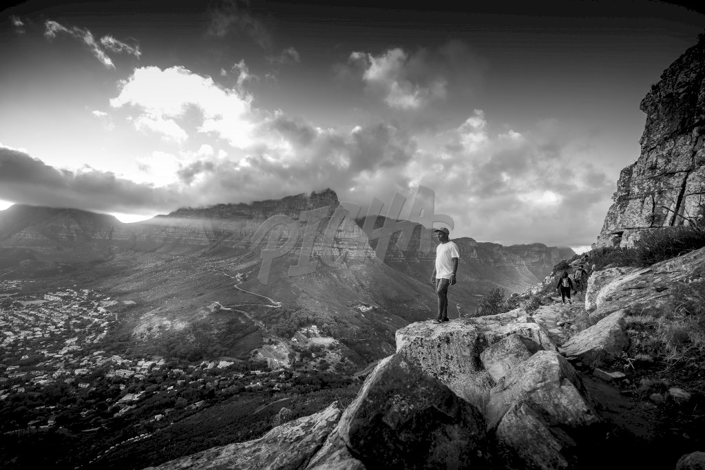 Man standing in nature, Black and White, South Africa
