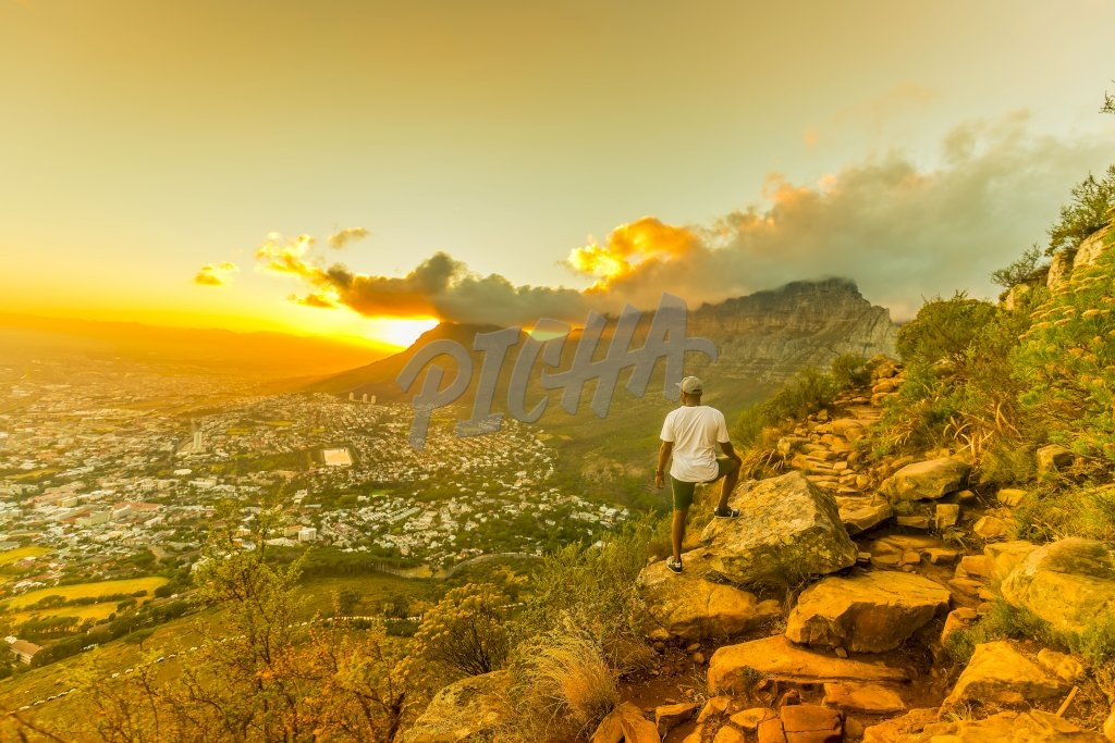 Man looking at landscape, South Africa