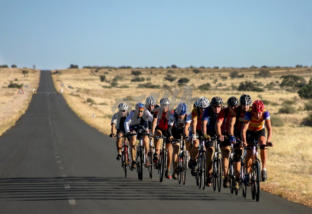 Cyclists in Namibia