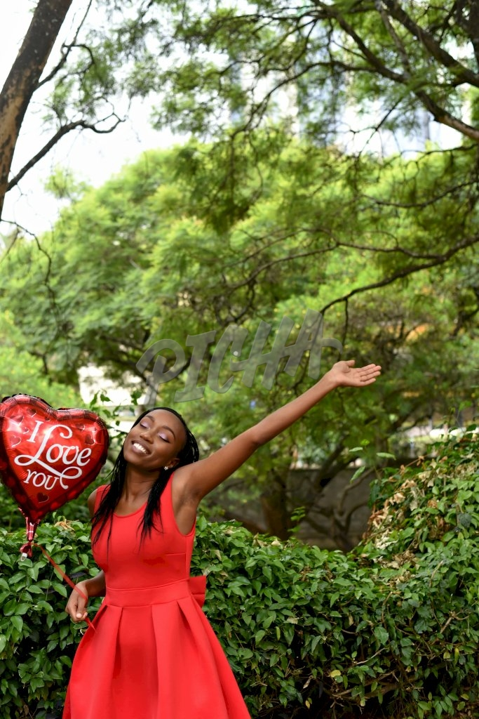 Woman happy for Valentine's day