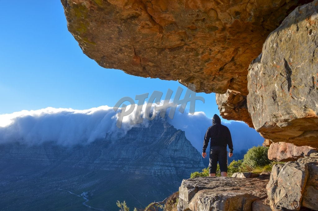 Man standing in Cape town mountain