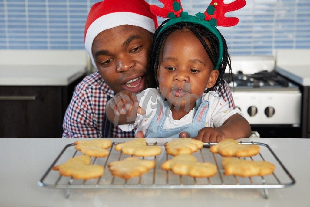 Dad baking with daughter