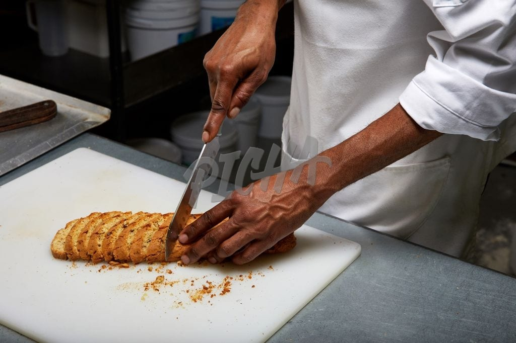 Chef making biscotti