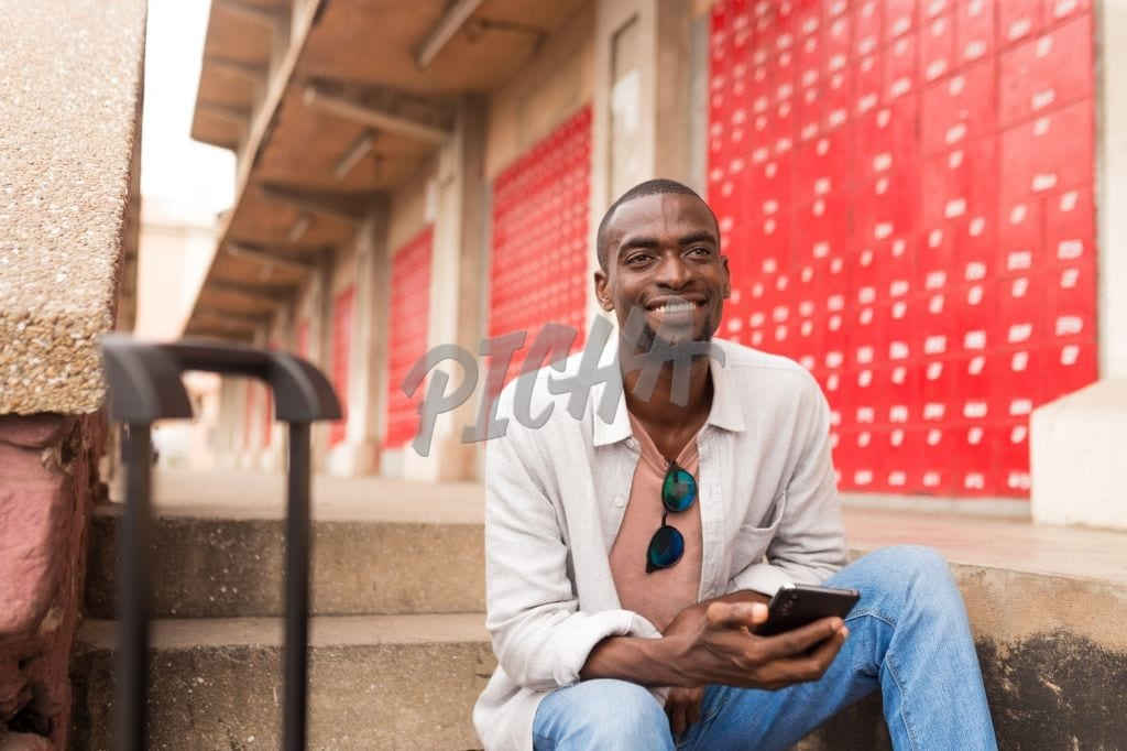 Man holding his phone