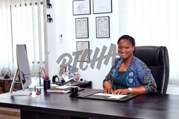 Woman working from office desk