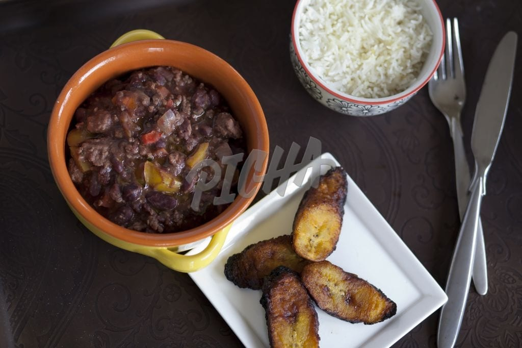 Red beans with rice and plantains